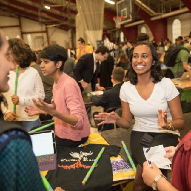 Students meet during a diversity fair.
